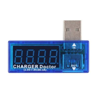 USB tester, μετρητής φόρτισης ρεύματος Volt και Ampere, χρώμα μπλε - TC35002 OEM