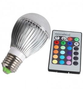 10W Λάμπα RGB LED με προγράμματα και τηλεχειριστήριο 650LM E27 -  OEM