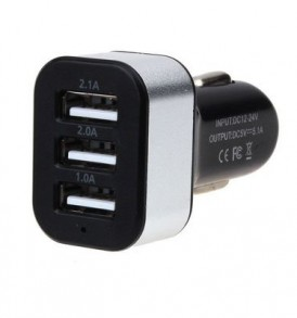 3x,  Τριπλός USB φορτιστής αυτοκινήτου in. 12 - 24V /out. 5V  2.1, 2A, 1A  -   D185 OEM