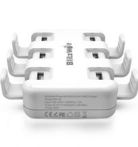 50W USB Πολυφορτιστής πρίζας για όλες τις φορητές συσκευές / τηλέφωνα - BWS4 BlitzWolf