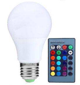 RGB LED Λάμπα με τηλεκοντρόλ,αλλάζει 15 χρώματα,4 προγράμματα - E27R OEM
