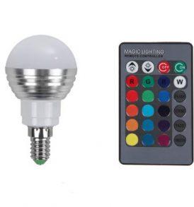 RGB LED Λάμπα με τηλεκοντρόλ,αλλάζει 15 χρώματα,4 προγράμματα - E14 OEM