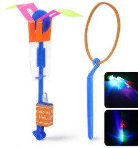 Χρωματιστό ελικοπτεράκι φωτιζόμενο με LED λαμπάκι εκτόξευση με λάστιχο - HY558A OEM