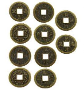 Σετ με δέκα Κινέζικα νομίσματα για το I-Ching για χρησμούς και προβλέψεις - IC10 OEM