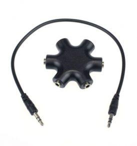 3.5mm mini jack Splitter με 5 θηλυκές εξόδους και καλώδιο αρσενικό/αρσενικό - 2E32 OEM