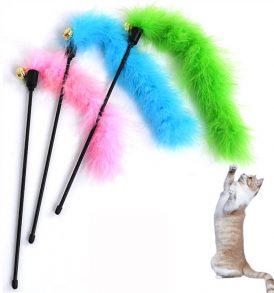 Παιχνίδια για γάτες, καλάμι  με κρεμαστά φτερα και κουδουνάκι - CATG0007  OEM