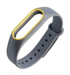 Λουρί για Xiaomi Miband 2 χρώματος γκρι κίτρινο / Smart Wrist Watch Strap - B4G OEM