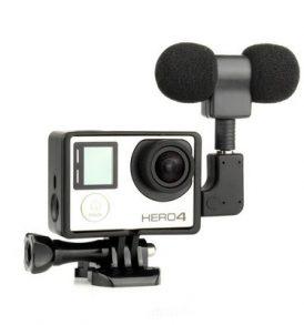 Διπλό μικρόφωνο με πλαίσιο και ανταπτορες για Action Camera Gopro - D22O61 TELESIN