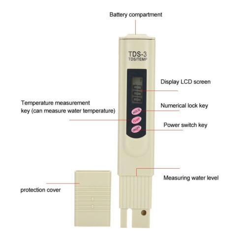 TDS Tester / temperature meter, μετρητής TDS και θερμοκρασίας νερού για ενυδρείο - YK13 AZURE