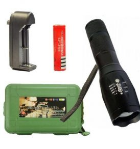 Σετ με ισχυρό φακό φορτιστή μπαταρία 18650 με ρυθμιζόμενο tactical zoom - DP406  ΟΕΜ