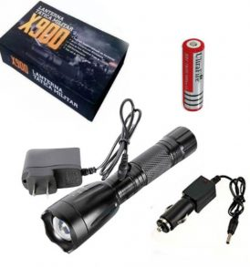 Σετ με ισχυρό επαναφορτιζόμενο φακό φορτιστές μπαταρία 18650 tactical zoom - DP462  ΟΕΜ