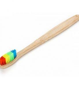 Πολύχρωμη οικολογική οδοντόβουρτσα Rainbow Bamboo με ξύλινη λαβή - 9050 MR.BRUSH