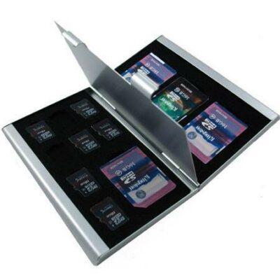 Μεταλλική θήκη φύλαξης μεταφοράς 12 καρτών μνήμης 8 microSD + 4SD  - MC12 OEM