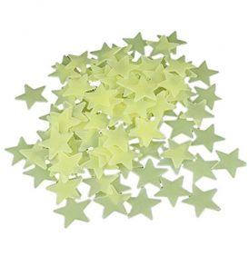100 φωσφορούχα 3D αστέρια σε κίτρινο χρώμα με δυνατό αυτοκόλλητο 4Μ -  DZ378 OEM