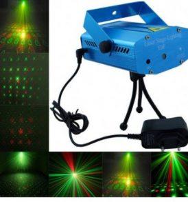 Mini Ισχυρό Φωτορυθμικό Projector Laser 50mW με κινούμενα RGB σχήματα - YX-6D OEM