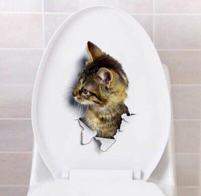 Αυτοκόλλητο τοίχου και τουαλέτας που απεικονίζει χαριτωμένο γατάκι - HCAT2516 OEM