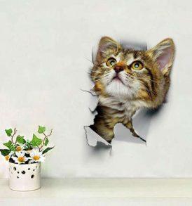 Αυτοκόλλητο τοίχου και τουαλέτας που απεικονίζει περίεργο γατάκι - SCAT2516 OEM