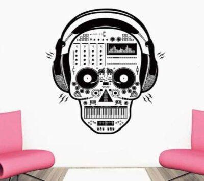 Αυτοκόλλητο τοίχου Σκελετός με ακουστικά πικάπ και συνθεσάιζερ - MUSKLH6555 OEM