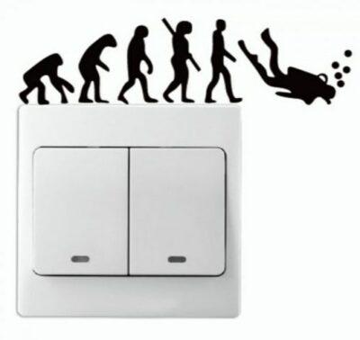Αυτοκόλλητο τοίχου για διακόπτη φωτός ανθρώπινη εξέλιξη / δύτης  - STWDIV1133 OEM