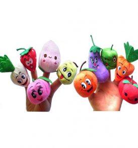 Σετ με 10 λαχανικά υφασμάτινες φιγούρες για παιδικό κουκλοθέατρο δακτύλων - VG10 OEM