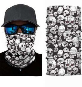 Μπαλακλάβα unisex μάσκα λαιμού με σχέδιο νεκροκεφαλές White Multi Skulls - WMS50 OEM