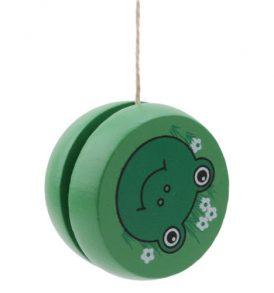 Παιχνίδι γιογιό ξύλινο με σχήμα που απεικονίζει πράσινο βατραχάκι Wooyoyo103 - OEM