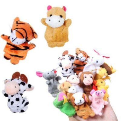 Σετ με 12 ζωάκια υφασμάτινες φιγούρες για παιδικό κουκλοθέατρο δακτύλων - AZ12 OEM
