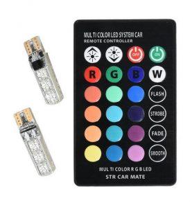 Υπέρυθρα LED - RGB φώτα με τηλεκοντρόλ αλλαγής χρώματος για αυτοκίνητο  -  T10RGB OEM