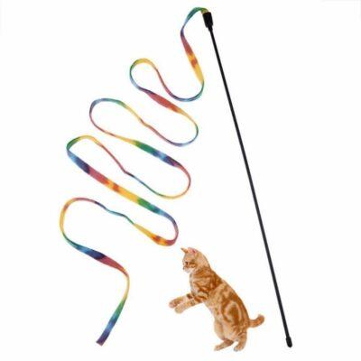 Παιχνίδια για γάτες, ραβδί με κρεμαστή πολύχρωμη μεγάλη κορδέλα - CATGL0164  OEM