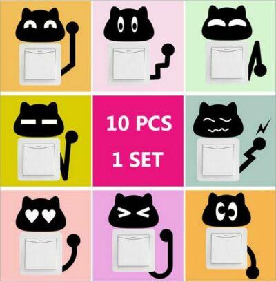 Σετ με 10 Αυτοκόλλητα τοίχου για διακόπτη ή πρίζα με φιγούρα γάτες  - CT45 OEM