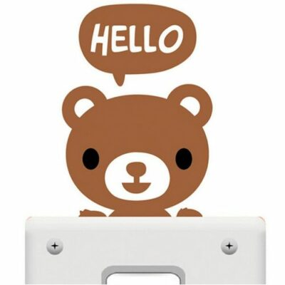 Αυτοκόλλητο τοίχου κατάλληλο για διακόπτη φωτός hello αρκουδάκι  - HB107 OEM