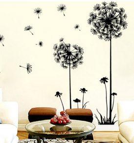 Αυτοκόλλητο τοίχου με φυτά Dandelion που ταξιδεύουν στον αέρα  - FD13080 OEM