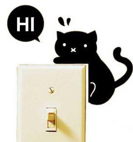 Αυτοκόλλητο τοίχου κατάλληλο για διακόπτη φωτός Hi γατάκι  - HIC1310 OEM