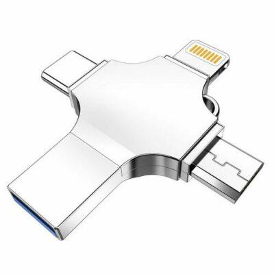 4 σε 1 USB Flash Drive 8GB μνήμης Type C MicroUSB  USB3  APPLE Lightning- USC3X  OEM