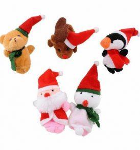 Σετ με 5 υφασμάτινες Χριστουγεννιάτικες φιγούρες για παιδικό κουκλοθέατρο δακτύλων - CHS5 OEM