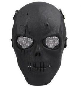 Paintball Softball μάσκα κρανίο μαύρο, ανθεκτική αδιάβροχη με ιμάντα και σίτα - CQ08 OEM