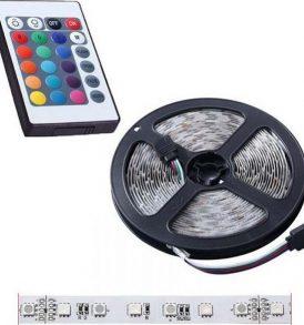5 μέτρα αυτοκόλλητη LED ταινία με Τηλεχειριστήριο 5050 12V IP65 14w/m RGB - DP233 OEM