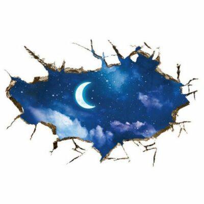 Αυτοκόλλητο βινυλίου για τοίχο έναστρος ουρανός με φεγγάρι και σύννεφα  - SMC9060 OEM