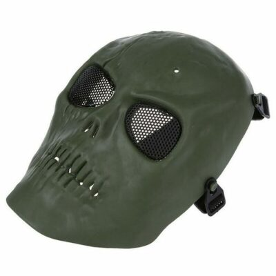 Paintball Airsoft μάσκα κρανίο μαύρο, ανθεκτική αδιάβροχη με ιμάντα και σίτα military - MQ09 OEM