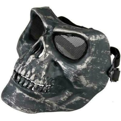 Paintball μάσκα μαυρο κρανίο σκελετού, ανθεκτική αδιάβροχη με ιμάντα και σιτα - F46 OEM