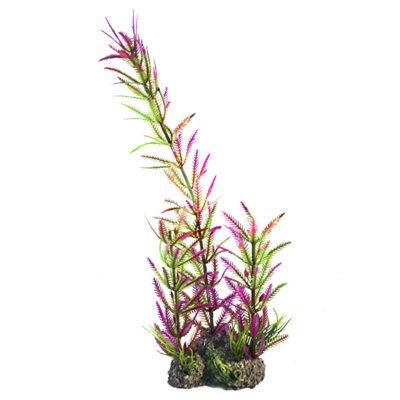 Διακοσμητικό χρωματιστό φυτό ενυδρείου και Terrarium 33cm με βράχο - YJW94  MONWA