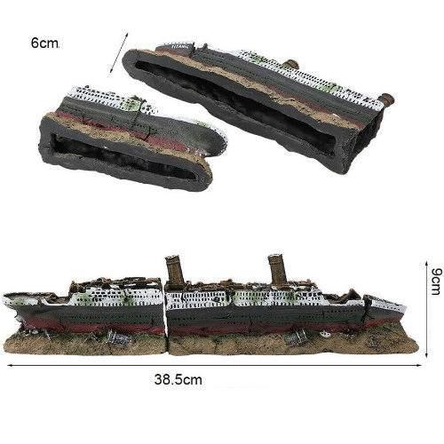 Διακοσμητικό βυθού ενυδρείου Μεγάλο σπασμένο καράβι ναυάγιο στο βυθό Τιτανικός - WJW102 OEM