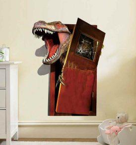 3D Αυτοκόλλητο τοίχου τρισδιάστατο δεινόσαυρος Braking Door Dinosaur - 3DBDJ4560 OEM