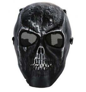 Paintball Airsoft μάσκα κρανίο μαύρο, ανθεκτική αδιάβροχη με ιμάντα και σίτα Iron - IR10 OEM