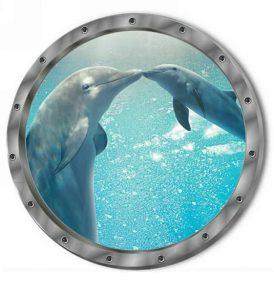 3D Αυτοκόλλητο τοίχου τρισδιάστατο φινιστρίνι με βυθό ωκεανό και δελφίνια - 3DWDL29 OEM