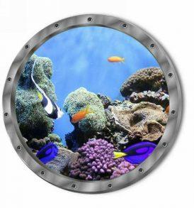 3D Αυτοκόλλητο τοίχου τρισδιάστατο φινιστρίνι με βυθό κοράλλια και ψάρια  - 3DCFL29 OEM