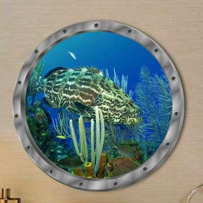 3D Αυτοκόλλητο τοίχου τρισδιάστατο φινιστρίνι με βυθό και μεγάλο ψαρι  - 3DFSL29 OEM