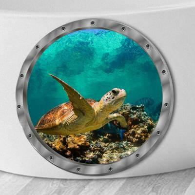 3D Αυτοκόλλητο τοίχου τρισδιάστατο φινιστρίνι με βυθό και θαλάσσια χελώνα - 3DWST29 OEM