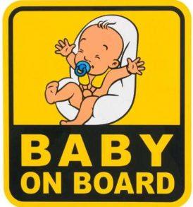 Αυτοκόλλητη Πινακίδα Αυτοκινήτου Μωρό στο αυτοκίνητο / Baby on board sticker - BOB18 ΟΕΜ