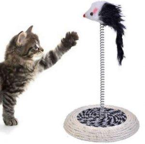 Βάση με χνουδωτό ποντίκι παιχνίδι για γάτες σε ταλαντευόμενο ελατήριο - CATMS200 OEM